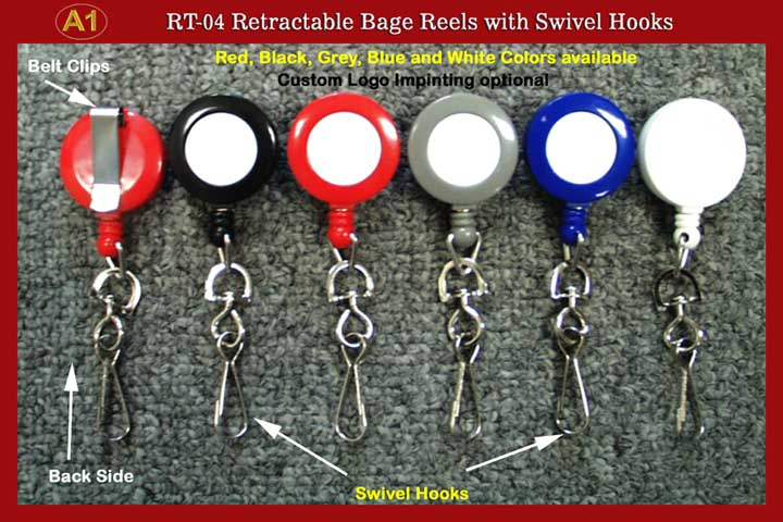 Badge Reels: RT-04 Retractable ID Card Reels with Swivel Hooks for ID card holders or badge clips