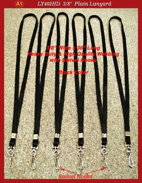LY402HD plain lanyards - black color